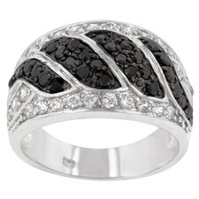 Imitation Onyx and Clear Cubic Zirconia Black / White Ring