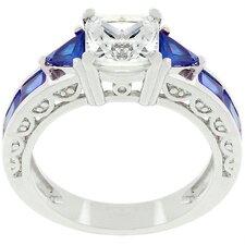 White Gold Rhodium Bonded Cubic Zirconia Regal Ring