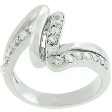 White Gold Bonded Cubic Zirconia Lace Ring