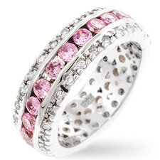 <strong>Kate Bissett</strong> Pink Ice and Clear Cubic Zirconia Blossom Eternity Ring