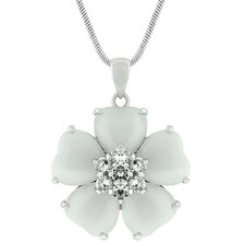 <strong>Kate Bissett</strong> Silver-Tone White Cat's Eye Cubiz Zirconia Flower Necklace