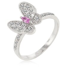 Pink Ice and Clear Cubic Zirconia Butterfly Cocktail Ring