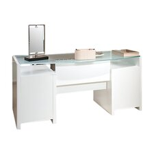 New York Skyline Bow Front Double Pedestal Executive Desk