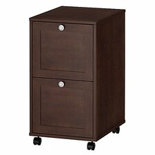 Grand Expressions Two Drawer Mobile File with Locking Casters in Warm Molasses Finish