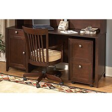 Grand Expressions Americana Home Double Pedestal Computer Desk Bundle with 2 Drawer