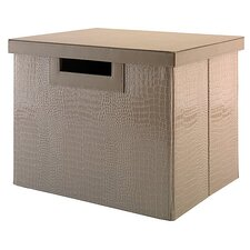 Volcano Dusk Large File/Storage Bin with Natural Grass Weave Pattern