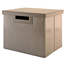 NEW YORK SKYLINE Large File/Storage Bin in Patent Leather Croc Biege
