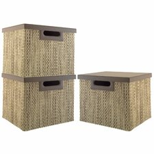 Volcano Dusk 3-bin large file  collection (3 bins) with Natural Grass Weave Pattern