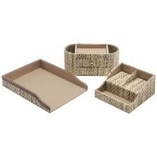 Volcano Dusk assorted storage bin collection with Natural Grass Weave Pattern (Set of 3)