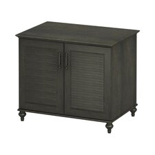 "<strong>kathy ireland Office by Bush</strong> Volcano Dusk 2-Door 34"" Cabinet with Louvered Accents in Kona Coast Espresso Finish"
