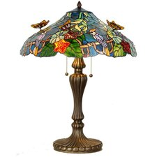 Tiffany 2 Light Butterflies Table Lamp