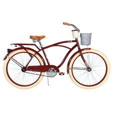 Deluxe Men's Cruiser Bike with Basket and Beverage Holder