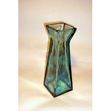 Coloured Glass 30cm Pyramid Vase in Blue
