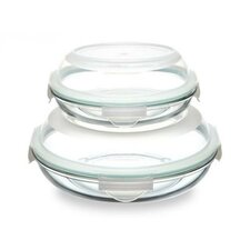 Glasslock Plus 4-Piece Round Oven Safe Tempered Glass Container Set with Sealed Lid