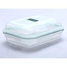 Glasslock Plus 8-Cup Rectangular Oven Safe Tempered Glass Container with Sealed Lid