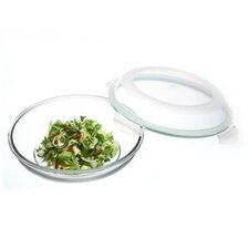 Glasslock Plus 3.38-Cup Round Oven Safe Tempered Glass Container with Sealed Lid