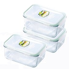 Glasslock 6-Piece Rectangular Tempered Glass Container Set with Sealed Lid