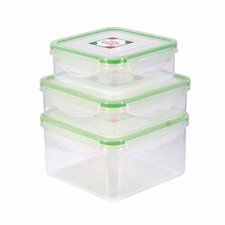 6-Piece Square Plastic Food Storage Container Set with Sealed Lid