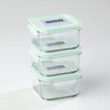 Glasslock 6-Piece Square Tempered Glass Container Set with Sealed Lid
