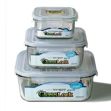 Go Green Glasslock Assorted 3-Piece Square Food Storage Container Set