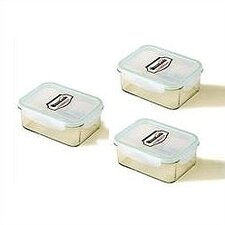 Go Green Glasslock 3-Piece 14-oz.. Rectangular Food Storage Container Set
