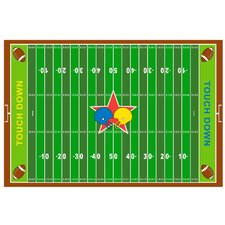 Fun Time Football Field Kids Rug