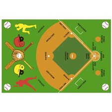 <strong>Fun Rugs</strong> Fun Time Baseball Field Kids Rug