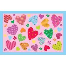 Fun Time Hearts-Pink Kids Rug