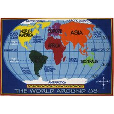 Fun Time World Map Kids Rug