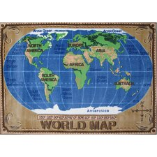 <strong>Fun Rugs</strong> Supreme World Map Kids Rug