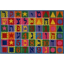 Supreme Hebrew Numbers and Letters Kids Rug