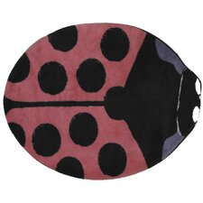 Fun Time Shape Pink Lady Bug Kids Rug