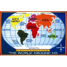 <strong>Fun Rugs</strong> Fun Time Kid's World Map Classroom Kids Rug