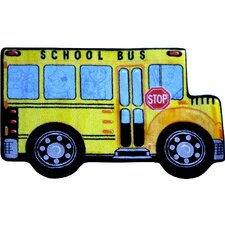Fun Shape High Pile School Bus Kids Rug