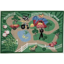 Fun Time Farm Roads Kids Rug