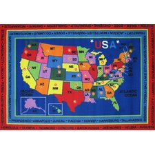 Fun Time State Capitals Classroom Kids Rug
