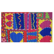 Fun Time Hearts and Crafts Kids Rug