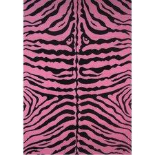 Fun Time Pink Zebra Skin Kids Rug