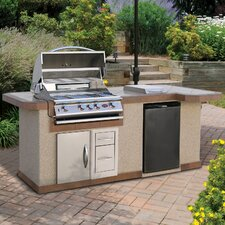 "96"" BBQ Island 4 Burner Gas Grill with Side Bar"