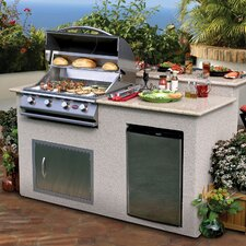 "72"" BBQ Island 4 Burner Gas Grill with Granite Top"