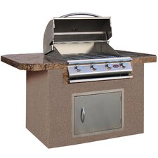 "72"" BBQ Island 4 Burner Gas Grill with Bar Depth Top"