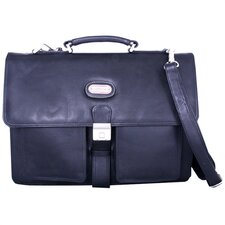 Double Pocket Leather Briefcase in Black