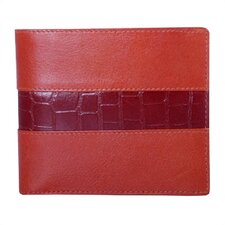 Double Fold Wallet with Croc in Cognac