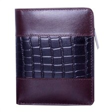 Wallet with Croc Accents in Mahogany/Black