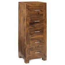 <strong>Indian Hub</strong> Cube Sheesham 5 Drawer Tall Chest