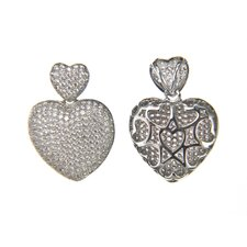 Micro Pave Cubic Zirconia Small Double Heart Pendant