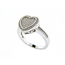 Micro Pave Cubic Zirconia Ridged Heart Ring