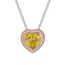 Sterling Silver Heart Center Cubic Zirconia Pendant