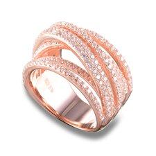 Sterling Silver Round Cubic Zirconia Interlocking Multi Stone Ring