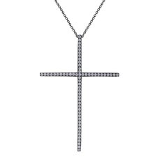 Micro Pave Cubic Zirconia Cross Pendant with Chain